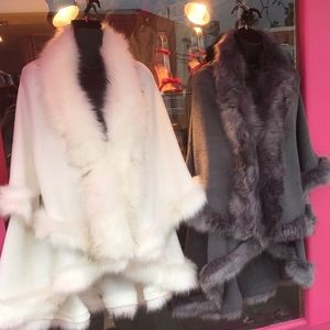WINTER White Faux Fur Double Layer CAPE Coat